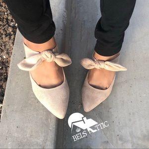 Nude Vegan Suede Bow Strap Kitten Heel Mule Pumps
